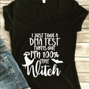 Women's NEW Vneck Shirt I'm 100% that Witch Funny